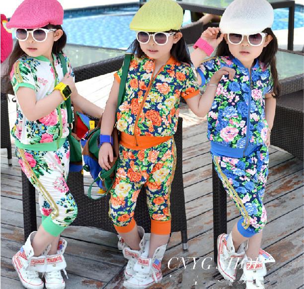 Sale Aones Girls rimmed flower print sport girl clothing sets short-sleeve zipper outerwear+haren pants 2pcs summer suits baby(China (Mainland))