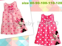 HB345 Free shipping Summer new arrival minnie mouse & dot girl dress,children sleeveless dress,kids dress summer,honey baby