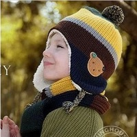 2013 child stripe color block decoration plus velvet bear ear button cap sleeve hat scarf twinset