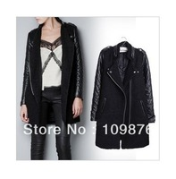 2014 New Fashion Women's PU leather Sleeve Windcoat Winter Coat Overcoat  WQ791