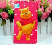 Fashion NEW Winnie Bear Leather Wallet Flip Cover Case For samsung galaxy note 3 n9000 case Free Shipping