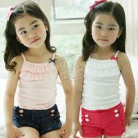 2014 summer bow girls clothing baby spaghetti strap vest shorts set tz-0364  sxl
