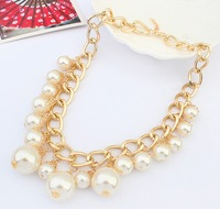 Fashion drop pearl fashion necklace female popular brief personality tassel necklace