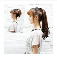 Synthetic clip in synthetic hair extension hairpieces 5 clips on wavy slice hair piece