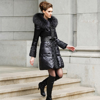 Rara2013 women's plus size slim large fur collar fashion medium-long female fur down coat