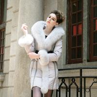 Rara2013 winter slim long design female high quality fox fur large fur collar down coat