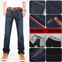 Free Shipping Cotton Men Jeans trousers Newly Style Zipper Straight Plus thick velvet long pants trousers for Men Winter Jeans