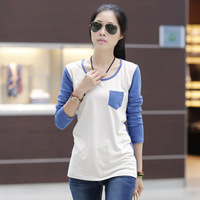 2014 new fashion women clothing pockets t shirt korean style tops tee clothes Long sleeve T-shirt #0018