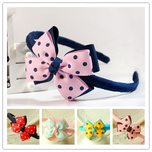 Min order is $15 freeshipping Child headwear pink blue double layer bow girls headbands baby kids hair bands accessory cute(China (Mainland))