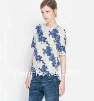 ST836 New Fashion Ladies' Vintage blue white floral print blouses elegant short sleeve stylish Shirt casual brand designer tops