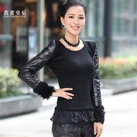 2013 slim o-neck cashmere knitted genuine leather basic shirt female leather clothing down coat
