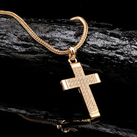 New Fashion costume jewelry Hip Hop Bling Gold Tone Jesus Block cross pendant necklace
