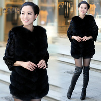 Female medium-long three quarter sleeve mink hair jindao fur clothing outerwear