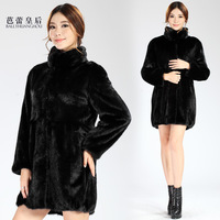 Ballet queen leather coat mink Women 2013 's top stand collar long-sleeve fur overcoat