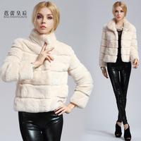 2013 fur coat fur rex rabbit hair fur collar slim medium-long female