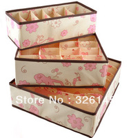 Flower Print underwear storage box three-piece (6 grid+7 grid +20 grid) Free shipping 3pcs/set