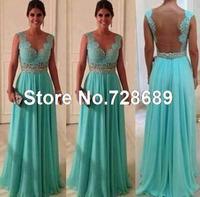 Custom Size -Custom Made -Top Sale Sheath Sweetheart Beadings Nude Back Blue Lace Chiffon 2014 Sexy Long Evening Dresses