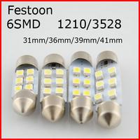 4pcs/lot Festoon 3528/1210 6smd 6led 6 smd led 31mm 36mm 39mm 41mm White 6 SMD LED Car Roof Festoon Dome Map Light #2ew