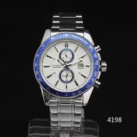 2014 men sports watch steel tachymeter CASE Date Dial multi sub-dial deco Men Quartz Wristwatch stainless steel Band Freeship
