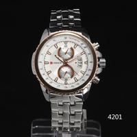 2014 Luxury steel gear CASE tachymeter Date Dial multi sub-dial deco Men Quartz sport Wristwatch stainless steel Band Freeship