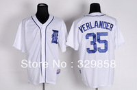 Free Shipping Cheap Wholesale Authentic Detroit Tigers Baseball Jerseys #35 Justin Verlander Jersey Embroidery Logos Size M-3XL