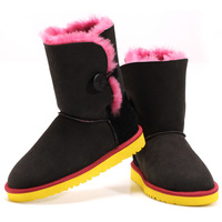 2014 warm winter 100% sheep skin and wool fur snow boots woman black skin red wool woman shoes butterfly  size US 5-9 Y5803-5