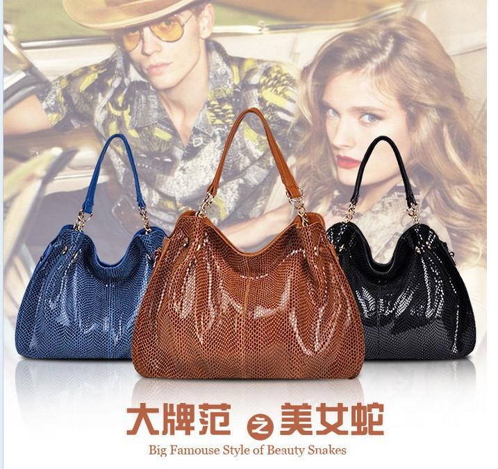 freeshipping2013 fashion handbag shoulder bag snake women handbags leather + PU bag 4 colors DT113(China (Mainland))