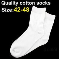 Big size 42--48 Bamboo and cotton Fiber men sock high quality sock casual sport socks 10pairs / lot 3 colors free shipping