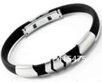 silver hiphop punk black rubber stainless steel bracelt bangle for men unisex fashion jewelry wholsesale designer us west beach
