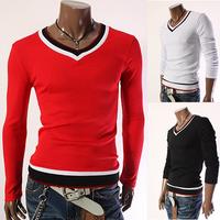 Men's clothing screw color block male slim long-sleeve Brand cotton t shirt for men