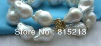 "ddh0093 8"" 2rows Natural 19mm White Reborn Keshi Pearl bracelet"