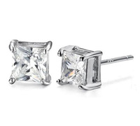 2014 Wholesale Fashion Men Earrings 925 Silver And Swiss Crystal Square Ear stud Earrings SK092