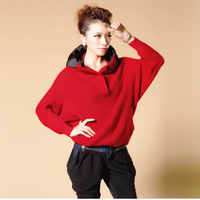 sweaters 2013 women fashion women's sweater top with a hood batwing sleeve loose sweater outerwear