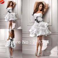 vestido de casamento Sweetheart Mini Short White Organza Black Sash Wedding Dresses Beach Bridal Gown 2014 New Party Gown