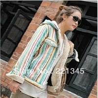 Winter  badge multicolour stripe patchwork thickening fluid berber fleece hooded wadded jacket cotton-padded jacket