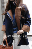 HOT!! winter denim berber fleece thickening cotton-padded jacket female outerwear medium-long denim overcoat