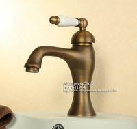 Antique Brass Ceramic Handle Bathroom Lavatory Basin Sink Faucet Mixer Taps 2210591L