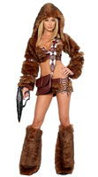New 2013 Winter Sexy Halloween Hunter Costume,Panda Bear Corset and Skirt,Women Wolf  Fur Cosplay,Brown Bear Wear For Party