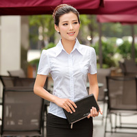 2014 new Slim puff sleeve OL outfit white shirt female shirt short-sleeve cotton blusas femininas plus size  women shirt