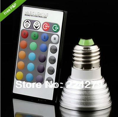 LED Bulb light 3W RGB with wireless remote E27 240V 16 color Saving Power LED Bulb light(China (Mainland))