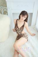 Sexy underwear set sexy leopard print women's uniforms transparent milk temptation short skirt