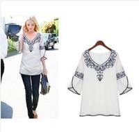2014 new women's fashion vintage embroidered sleeve slim t-shirt Retro delgado de la manga de la camiseta h23