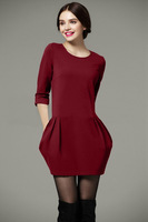 High Quality Women's Solid 3/4 Long Sleeve Round Neck Dress, Girl's Pleated Dress with zipper on back 11343