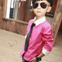 5pcs/lot summer 2013 Boys Long Sleeve Dress Shirt W/ Solid Necktie Tie Set ZM265