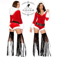 New 2013 Sexy Christmas Tinkle Bell Tassel Jumpsuit ,Jingle Bell Pole Dancing Cosplay With Foot Strap,Long Sleeve,Hot Stripper!
