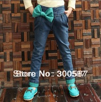 2015  new Children girl thickening jeans Sweet and lovely Bow girl Jeans Q3062,1pcs/lot,free shipping