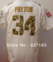 Chicago #34 Walter Payton White Salute To Service American Elite Rugby Football Sports Jersey.embroidery Logo Name.M-XXXL