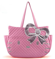 Reatil Lovely Big Pink Bowknot Hello Kitty Face Soft Pu Leather Women Lady's Shoulder Bags,Size 43*31*11 CM