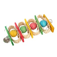DSHL Colorful Parrot Bird Wooden+Loofah Sponge Ladder Swings With Bell Play Toy