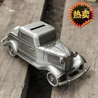Tin piggy bank vintage car  money box tinwares archaists webworm car wheel
